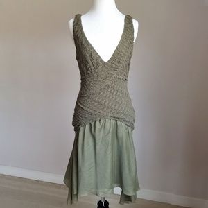Max Studio Sleeveless Olive Cotton & Silk Dress
